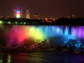 Niagara Falls, Colorful spotlights shone on the falls 8:30PM to midnight.