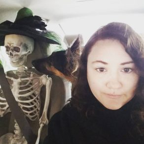 I'm Ash. I'm a 27 year old film student focusing on post-production and sound design. My dog Kameron is my life. I also enjoy dressing my plastic skeleton, Bonejangles, up for every holiday. I am what an Autistic person looks like.