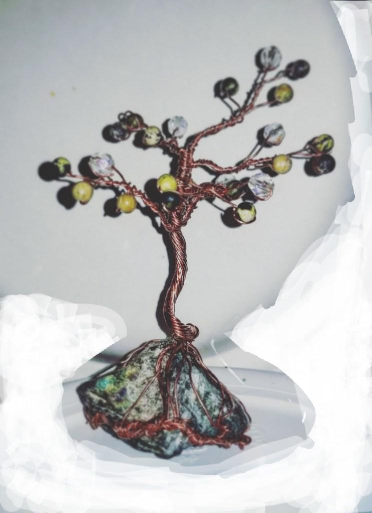 Mini copper bonsai tree