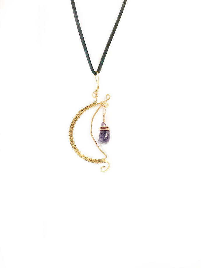 Wire Moon with Amethyst