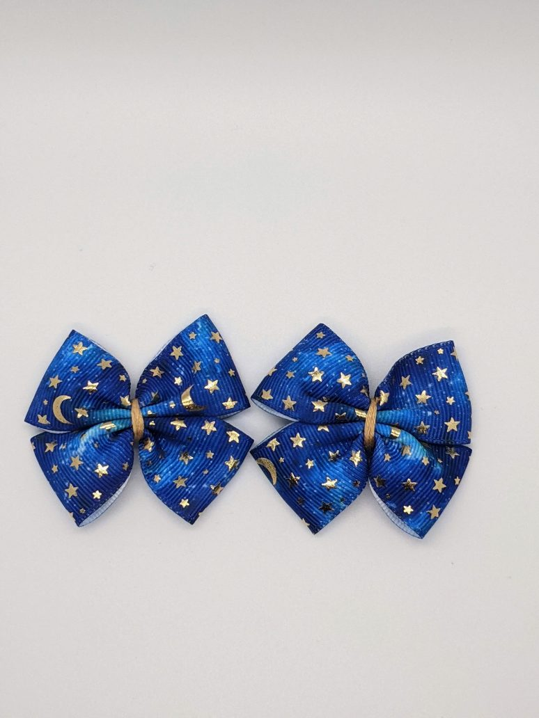 dark blue with gold foil moons and stars