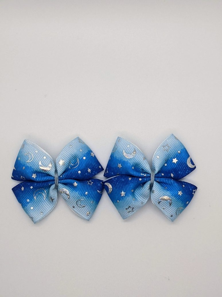 gradient blue with silver foil moon and stars