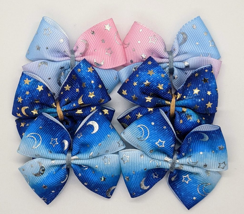 pink and blue gradient with silver foil stars and moon; gradient blue with silver foil moon and stars; dark blue with gold foil moons and stars