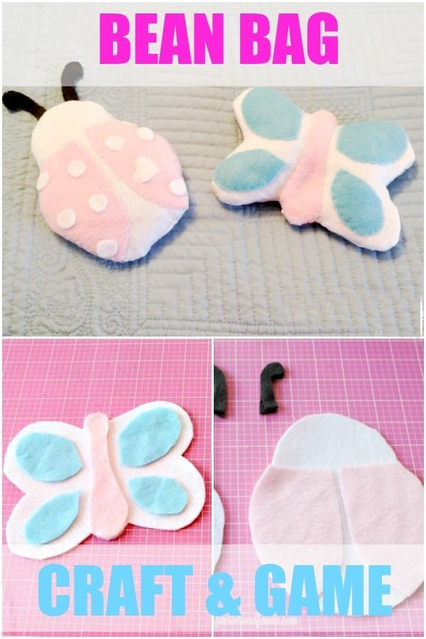 Collage of steps to make a bean bag craft and game for summer