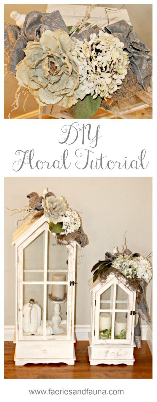 DIY, Floral Arrangement, Tutorial, Lantern, Neutral, Fall