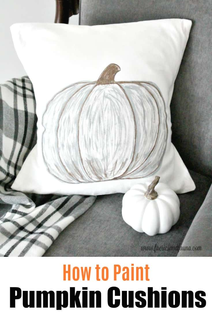 How to Paint a Pumpkin Cushion Cover, in neutral colours.