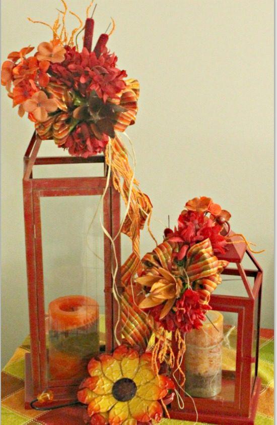 Fall, Home Decor, DIY, Lanterns, Flower Arrangement