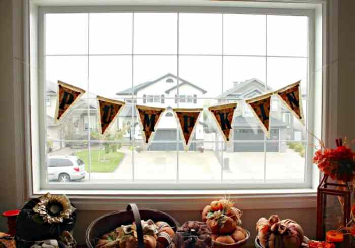 Large fall banner, this pumpkin banner is made using burlap and paper in traditional fall colours for fall decorating