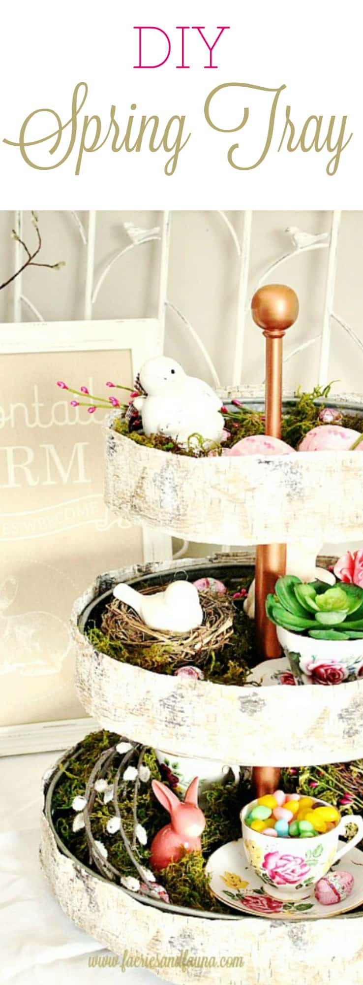 DIY Spring décor, Spring decorations, Easter decorations, Easter centerpieces, tiered tray ideas, spring décor ideas, spring home décor, spring decorations, DIY Easter décor, three tier tray, spring decor