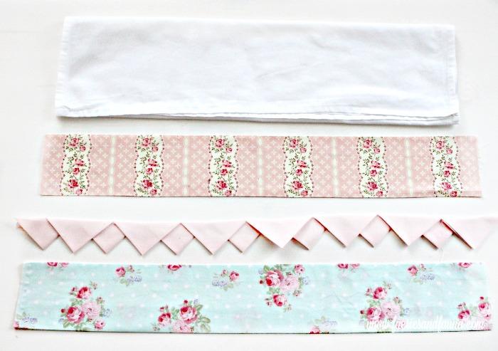 Cut strips laid out for a pretty tea towel project.Pretty DIY tea towel, prairie point, diy tea towel, diy kitchen towels, what is a tea towel, sew a tea towel, Spring tea towels
