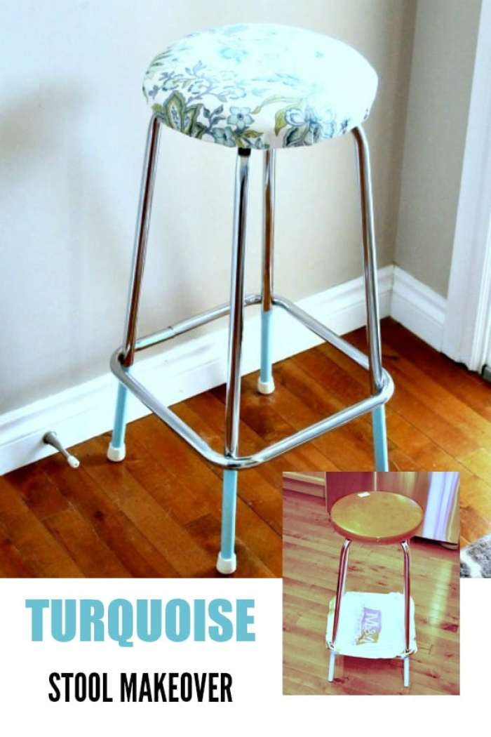A turquoise stool makeover for a craft room on a budget.