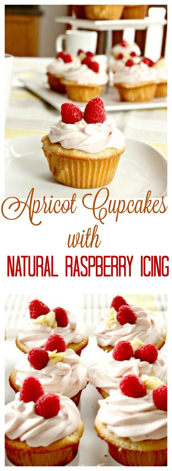Cupcake Recipe, Apricot Cupcake, Apricot Raspberry Cupcake, Raspberry Cupcake, Baking Recipe, Spring Cupcakes, Easter Cupcakes, All natural cupcakes, dye free cupcakes