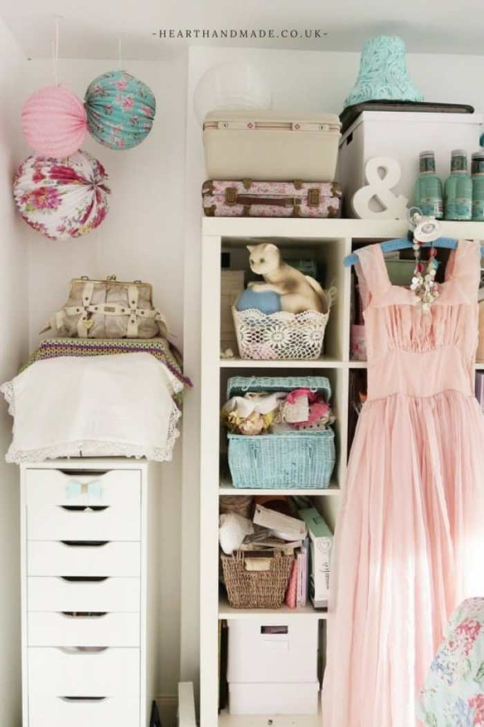 Pretty shabby chic craft room or sewing room ideas. Craft room ideas, craft room ideas on a budget, hobby room idea, sewing room idea, craft area ideas,craft room inspiration, home office craft room ideas.
