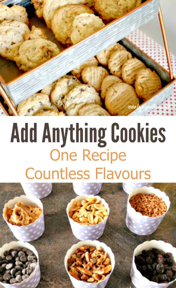 Dozens of different cookies, with raisins, chocolate chips, coconut, pretzels, caramel, walnuts pecans. Cookie Recipe, Drop Cookies, Cookies, Chocolate Chip Cookie Recipe, Peanut Butter Cookie Recipe, Coconut Cookies Recipe, Raisin Cookie Recipe, Add Anything Cookie Recipe, Add Anything Cookies