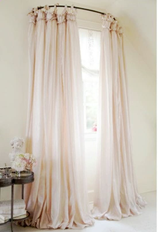 DIY window treatments, window treatment ideas,curtain ideas,tutorial, Inexpensive Window Treatments, Feminine window treatments, shower rod