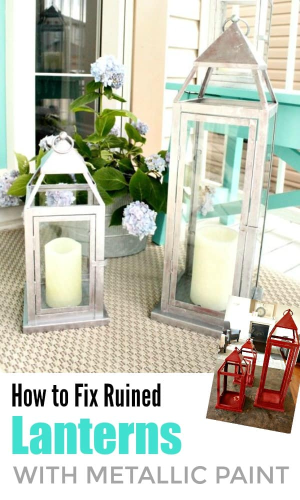 Outdoor lanterns for the front porch that have been updated a galvanized paint finish.  Lantern update, How to paint lanterns, DIY porch lantern