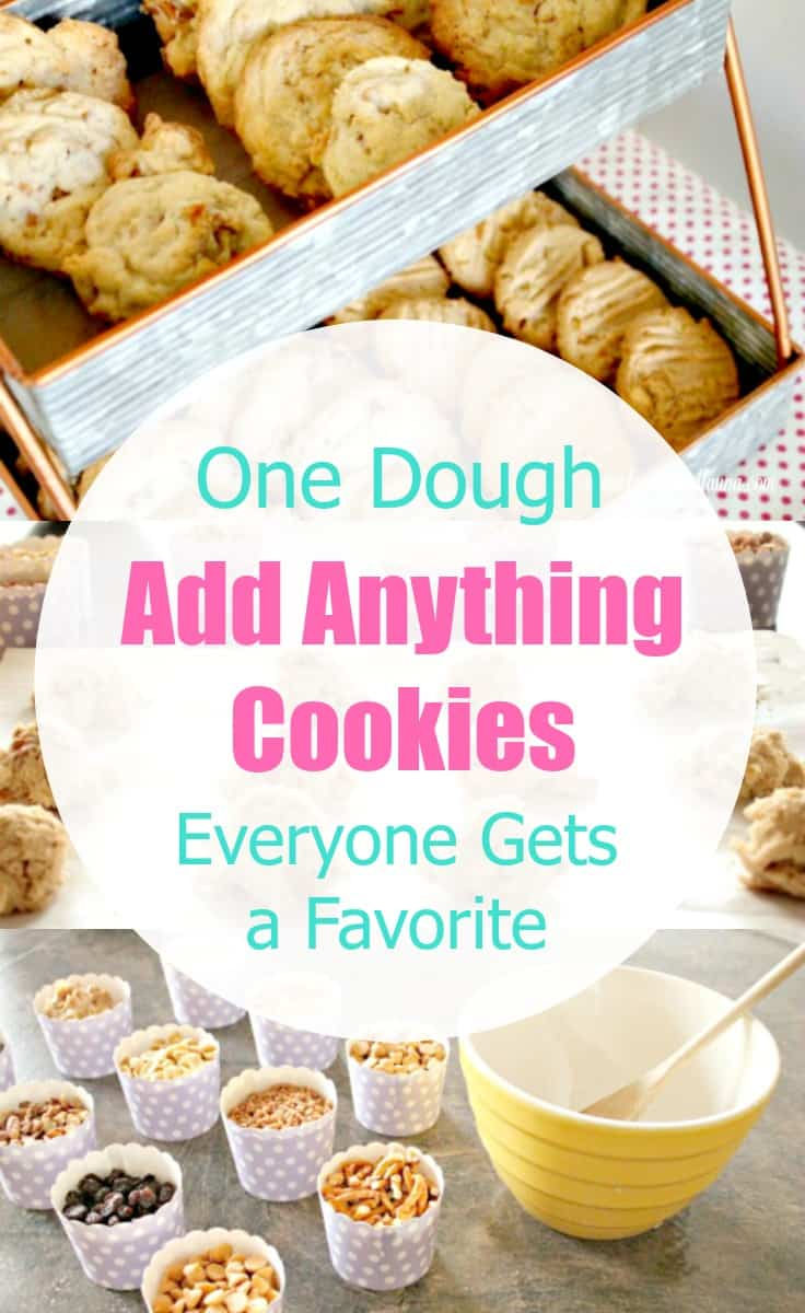 One batch of cookie dough made into four varieties of flavours. A cookie recipe called Add Anything Cookies. Cookie Recipe, Drop Cookies, Cookies, Chocolate Chip Cookie Recipe, Peanut Butter Cookie Recipe, Coconut Cookies Recipe, Raisin Cookie Recipe, Add Anything Cookie Recipe, Add Anything Cookies