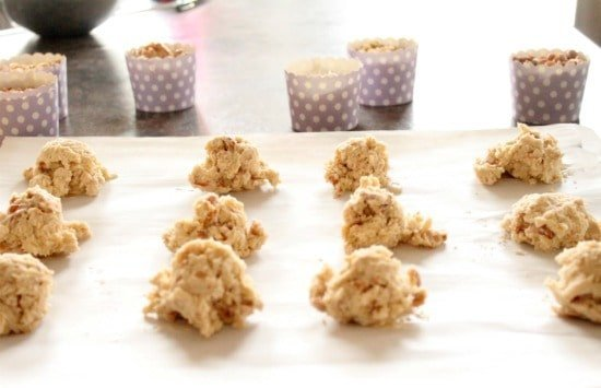 Mix well scoop out onto a parchment lined cookie sheet and bake for about 7-10 minutes at 350 degrees.