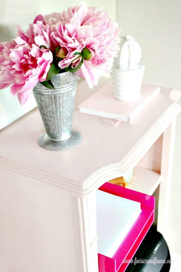 Chalk paint furniture project in blush pink. An old broken cabinet becomes a shabby chic blush pink printer cabinet.Shabby Chic Vintage Cabinet,Shabby Chic Upcycled Cabinet, chalk painted furniture ideas.