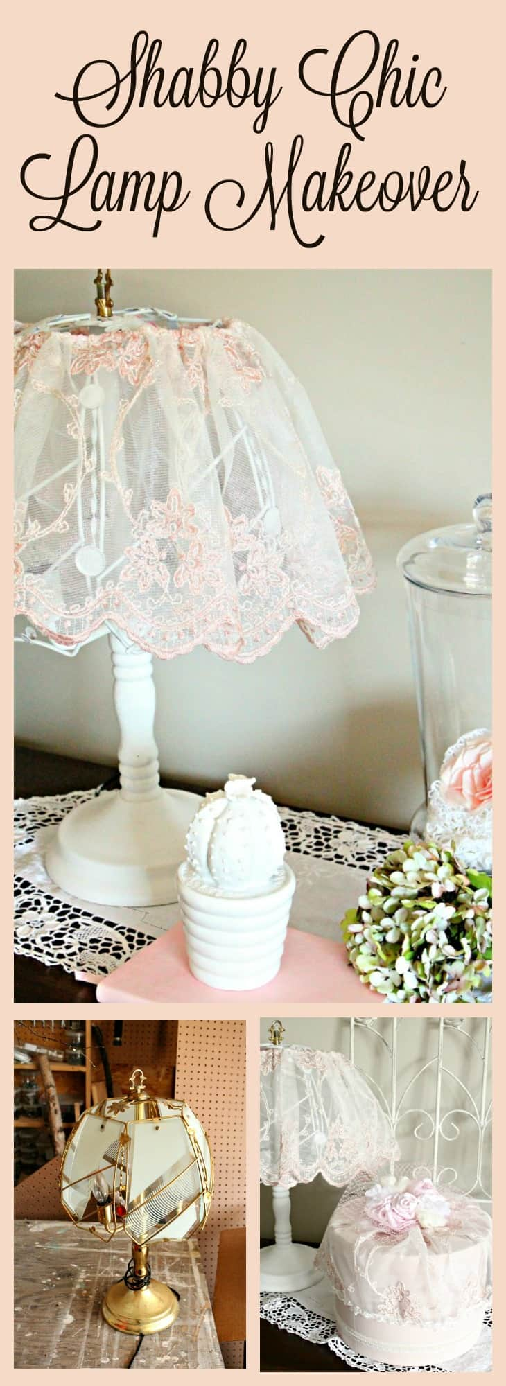 diy shabby chic lamp update. Black Bedroom Furniture Sets. Home Design Ideas
