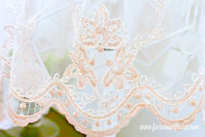 The lace ham of a handmade lampshade. lamp makeover, shabby chic lampshade ideas, diy shabby chic lamp, shabby chic, shabby chic lamp
