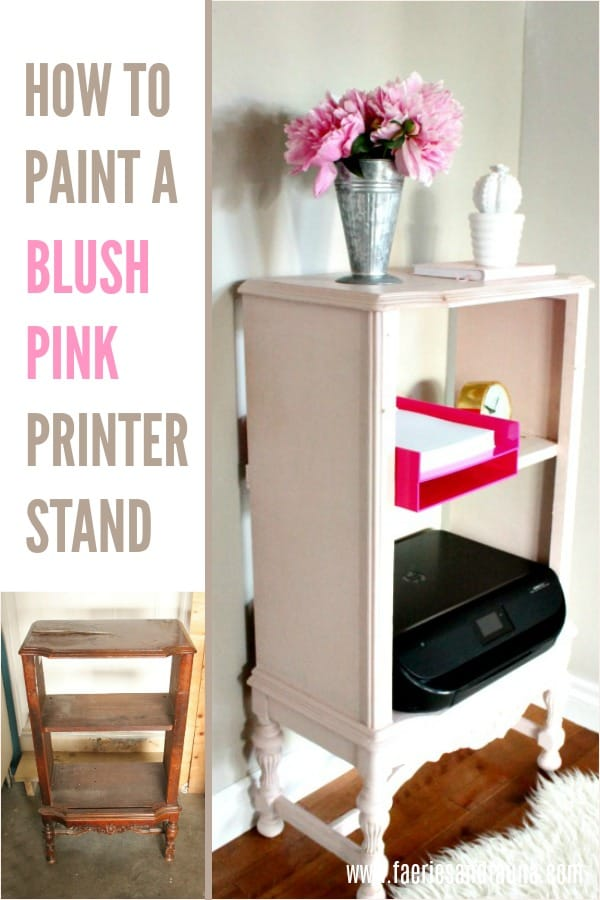 Update a broken radio cabinet into a blush pink printer cabinet.