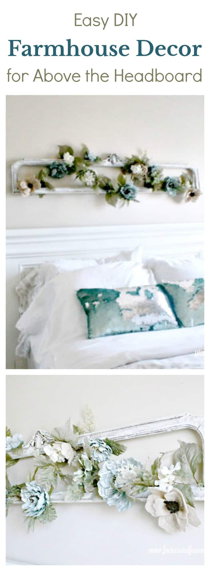 DIY Farmhouse style wall art for above the headboard in a master or guest bedroom