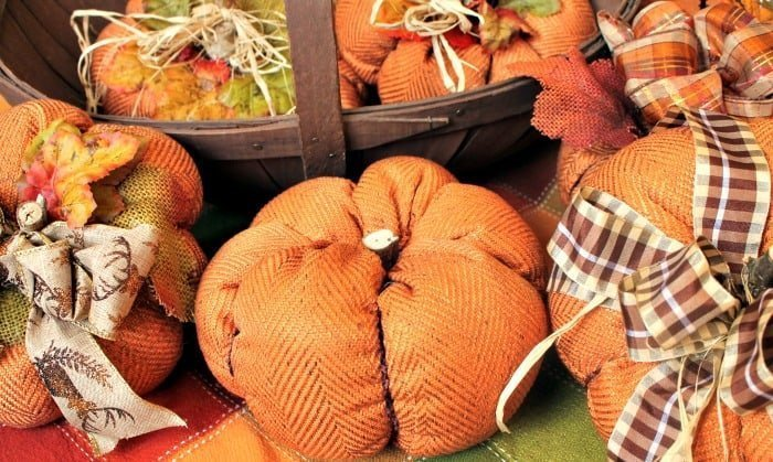 Traditional Fall Decor with Fabric Pumpkins in Rustic Fabric