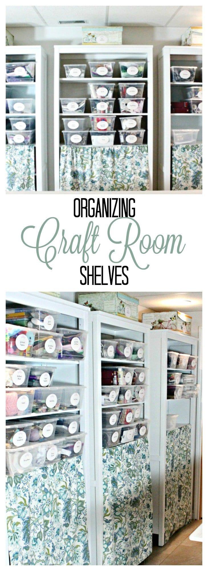 organizing crafts, organizing craft room shelves, craft room organization ideas