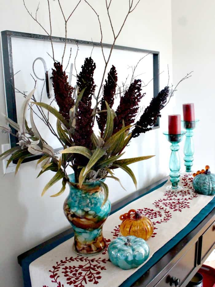 Large fall floral centerpiece for the front entrance. Fall Home Tour, fall decor ideas, DIY fall decorating,