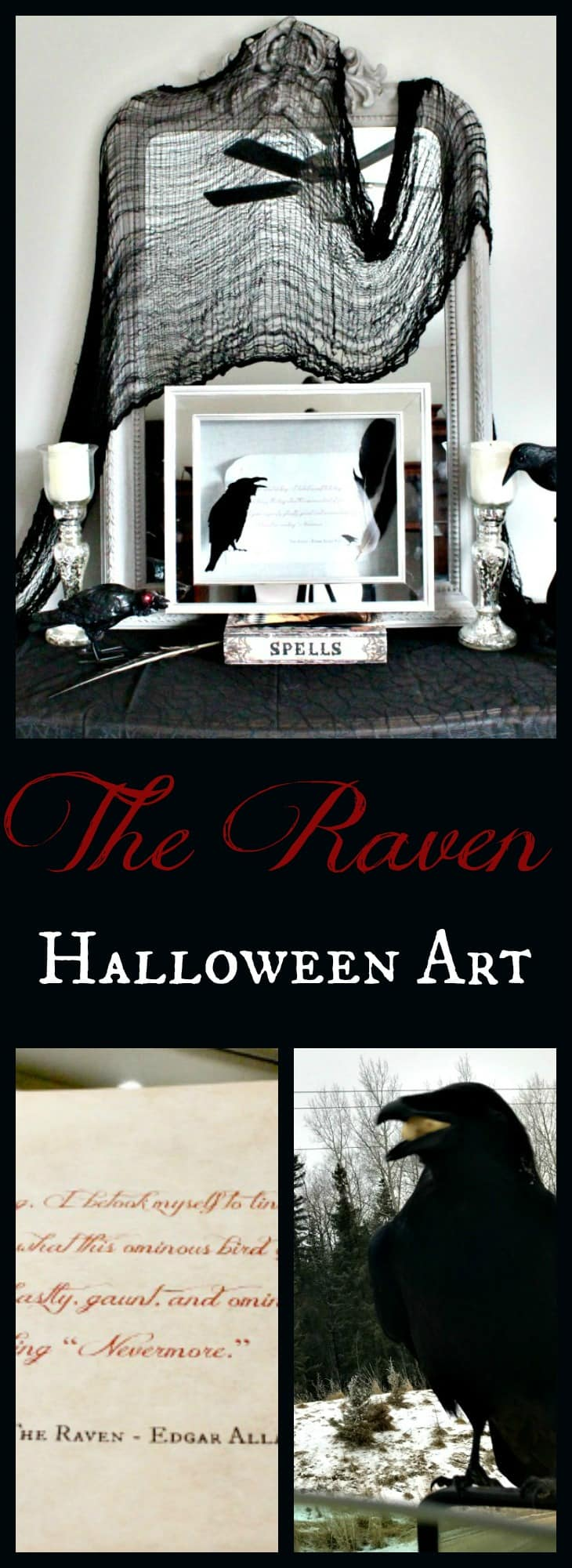raven printable,Poe decorations,, Halloween Art
