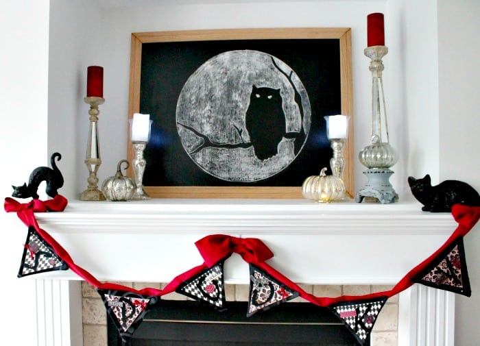 Pretty Halloween mantel with a DIY Halloween Chalkboard that is not scary. , Elegant Halloween, DIY Halloween Decorations, Halloween Decor, DIY Halloween Decor