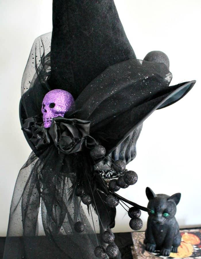 Black witches hat for Halloween decor