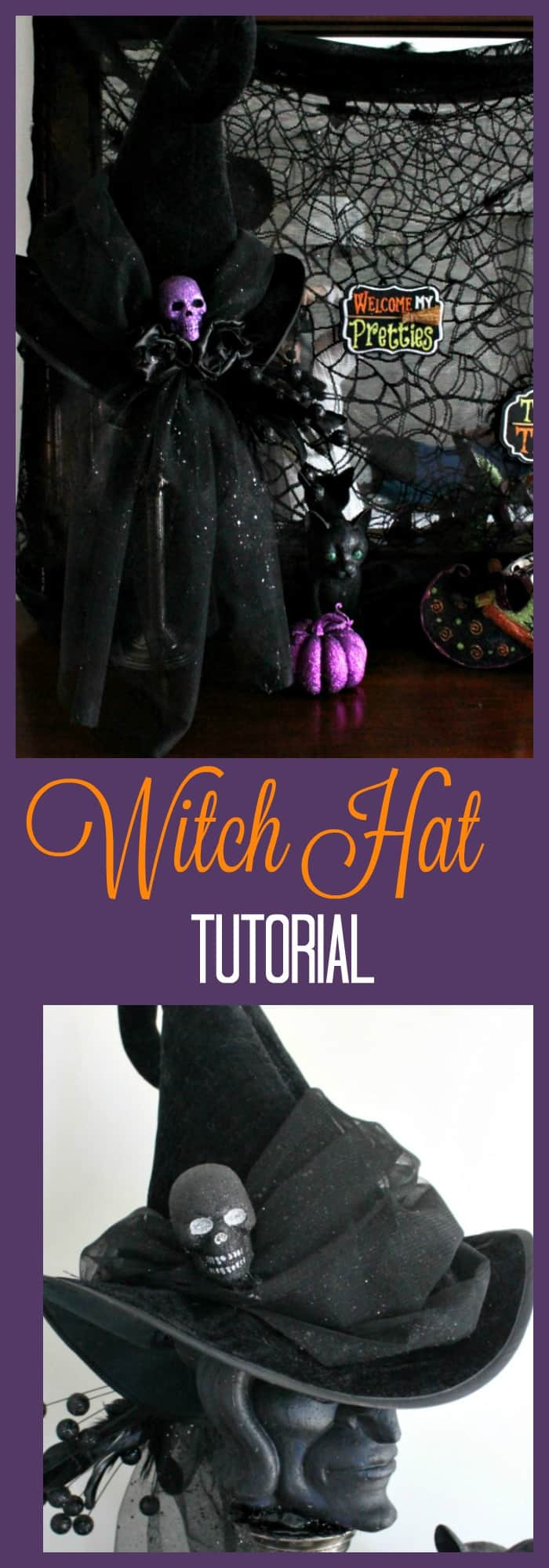 DIY witch hat, witch hat decoration ideas, hat witch designs