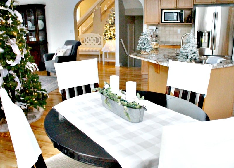 Christmas home tour with a kitchen, dining room family room all decorated in coordinating white DIY Christmas decor., Christmas House, Christmas Home, Christmas house tour