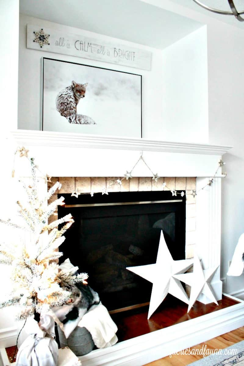 Christmas home tour fireplace mantel decorated in all white DIY Christmas decorations with sparkle and bling. , Christmas House, Christmas Home, Christmas house tour