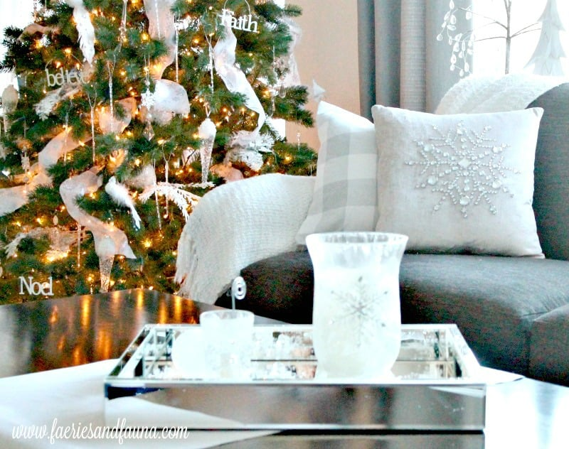 Christmas home tour with all white Christmas decorations and mirrored coffee table. , Christmas House, Christmas Home, Christmas house tour