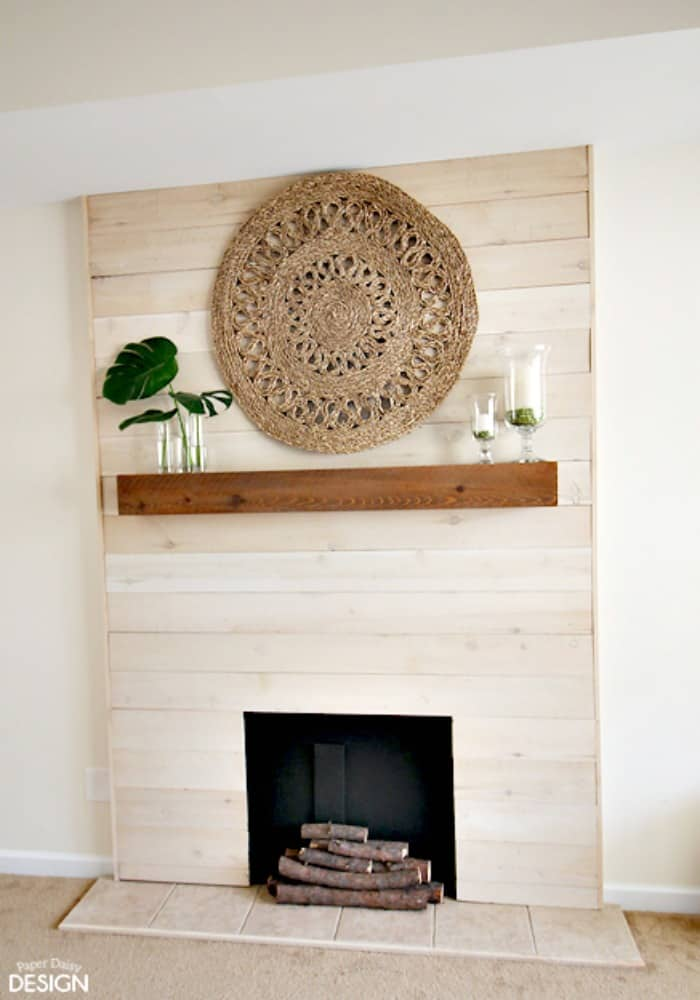 Modern shiplap DIY fireplace and mantel, perfect for Christmas decorating or Fall decorating.