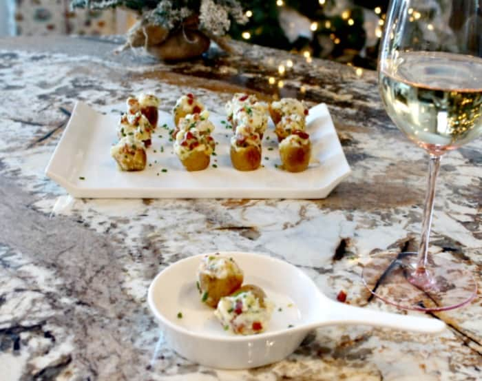 Stuffed mini potato appetizers, an easy party food recipe.A simple make ahead appetizer idea.
