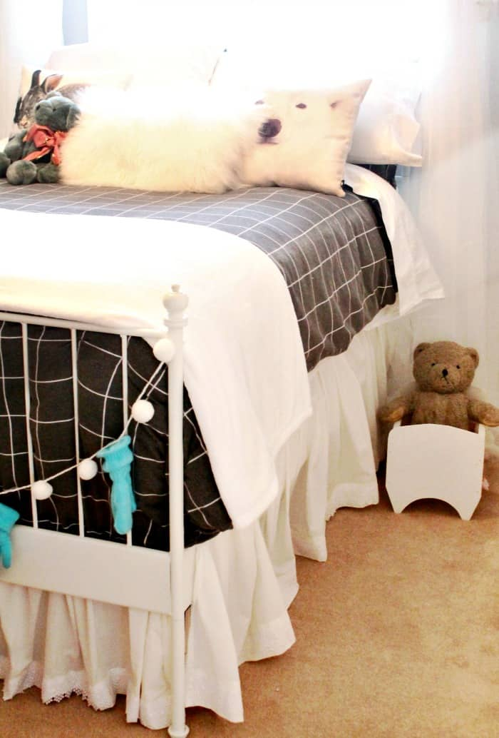 A bedroom with a new DIY bedskirt. A tall adjustable bedskirt tutorial.