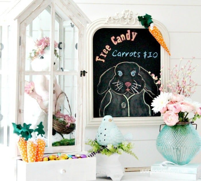 A chalkboard bunny Easter craft used for your Easter decorating ideas.  DIY Easter decorations, DIY spring decor, easter bunny crafts, chalkboard bunny, Easter chalkboard, Easter chalkboard designs