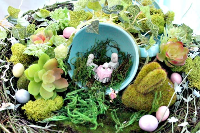 A diy teacup fairy garden with faux moss covered craft articles for Easter