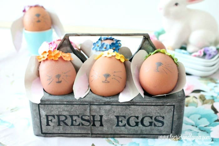 Six different diy Bunny Easter eggs in a farmhouse container. Easter Bunny Eggs, DIY Easter Eggs, how to decorate eggs, Easter egg ideas, Easter eggs, Easter egg decorating