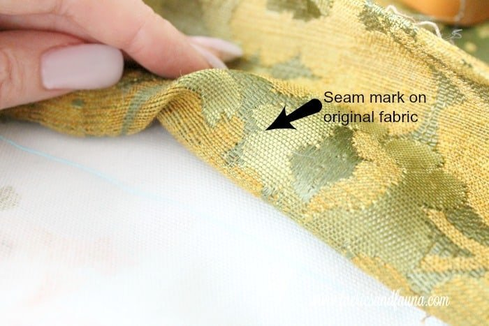 Seam marks for attaching a cushion to a chair bottom for sewing. Chair repair, furniture restoration, recover chairs DIY, how to reupholster a chair, reupholstery, chair reupholstery, furniture repair, recovering furniture, how to recover a chair.