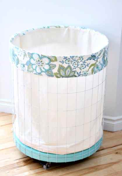 DIY Fabric Liner for a Wire Laundry Hamper or Large Basket