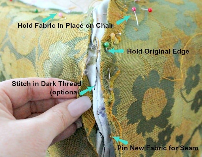 Old existing fabric being used as a pattern for new fabric on a thrift store chair makeover with upholstery. Chair repair, furniture restoration, recover chairs DIY, how to reupholster a chair, reupholstery, chair reupholstery, furniture repair, recovering furniture, how to recover a chair.