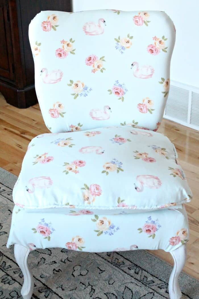 DIY chair upholstery project in a shabby chic french provincial style. Chair repair, furniture restoration, recover chairs DIY, how to reupholster a chair, reupholstery, chair reupholstery, furniture repair, recovering furniture, how to recover a chair.