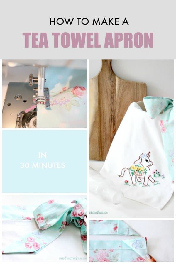 Tutorial collage of how to sew a tea towel apron.