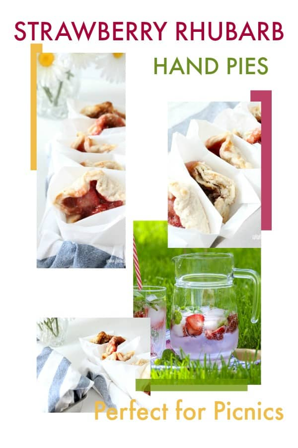 Collage of Strawberry Rhubarb pies and a picnic vignette.