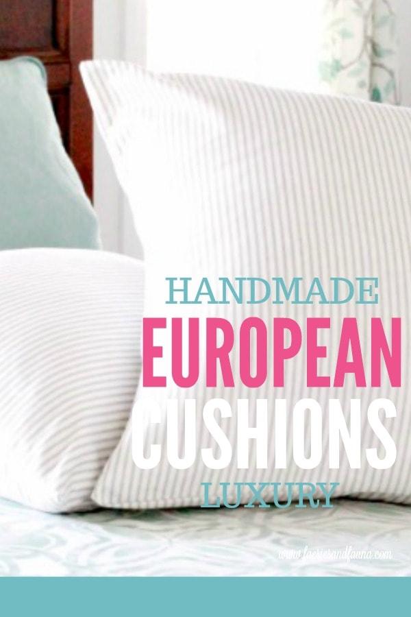 Handmade European Cushion and Covers close up image. Cushion making, DIY cushion covers, DIYpillow, making pillow covers, cushion cover making, sewing pillow covers, envelope cover, DIY Cushion Covers
